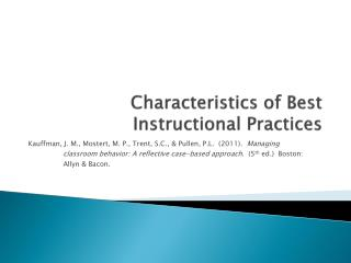 Characteristics of Best Instructional Practices