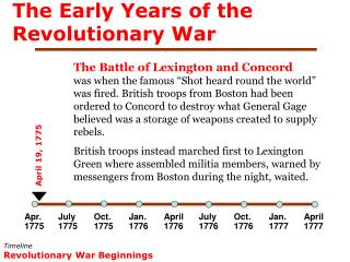 The Early Years of the Revolutionary War