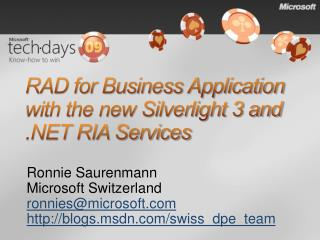 RAD for Business Application with the new Silverlight 3 and .NET RIA Services