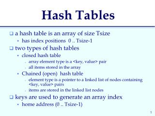 PPT - Hash Tables PowerPoint Presentation - ID:2775781