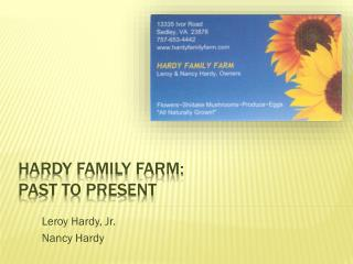 Hardy Family Farm: Past to Present