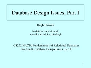 Database Design Issues, Part I