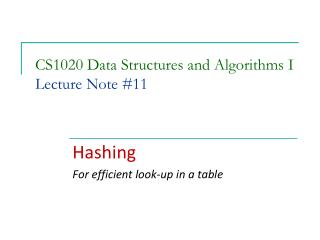 CS1020 Data Structures and Algorithms I Lecture Note #11