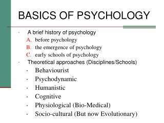 BASICS OF PSYCHOLOGY