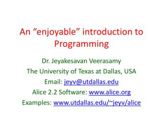 "An ""enjoyable"" introduction to Programming"