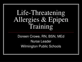 Life-Threatening Allergies & Epipen Training