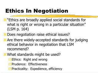 Ethics In Negotiation