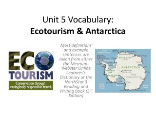 Unit 5 Vocabulary: Ecotourism & Antarctica
