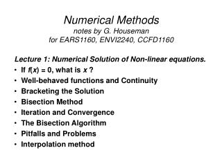 Numerical Methods notes by G. Houseman for EARS1160, ENVI2240, CCFD1160