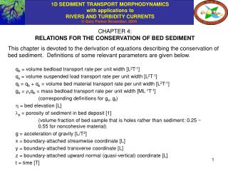 CHAPTER 4: RELATIONS FOR THE CONSERVATION OF BED SEDIMENT