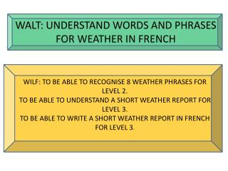 WALT: UNDERSTAND WORDS AND PHRASES FOR WEATHER IN FRENCH
