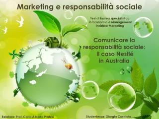 Marketing e responsabilit à  sociale