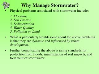 Why Manage Stormwater?