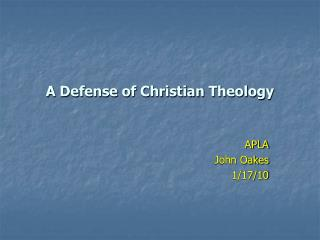 A Defense of Christian Theology