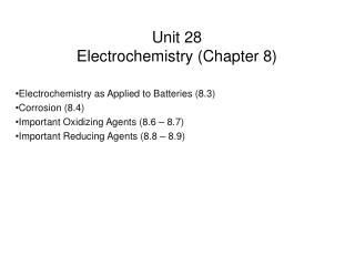 Unit 28 Electrochemistry (Chapter 8)