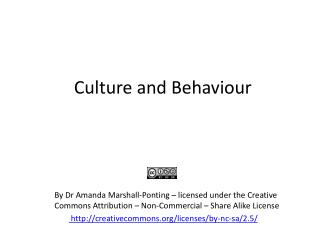 Culture and Behaviour