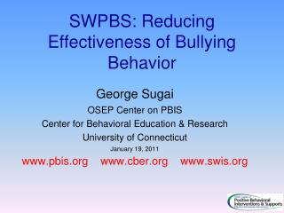 SWPBS: Reducing Effectiveness of Bullying Behavior