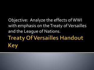 Treaty Of Versailles Handout Key