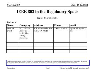 IEEE 802 in the Regulatory Space