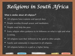 Religions in South Africa