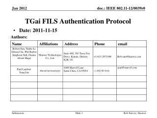 TGai  FILS  Authentication Protocol