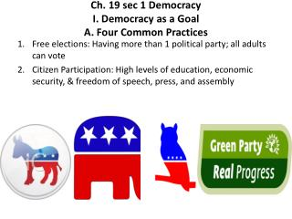 Ch . 19 sec 1 Democracy I. Democracy  as a Goal A. Four  Common Practices