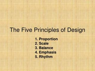 The Five Principles of Design