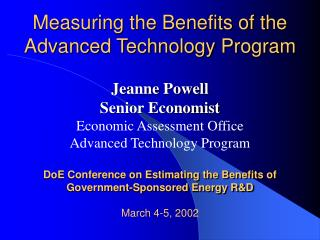 Measuring the Benefits of the Advanced Technology Program