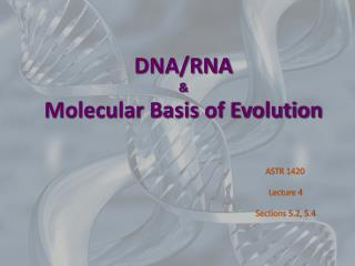 DNA/RNA & Molecular Basis of Evolution