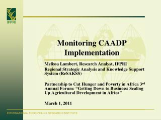 Monitoring CAADP Implementation