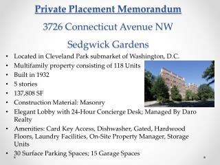 Private Placement Memorandum 3726 Connecticut Avenue NW Sedgwick Gardens