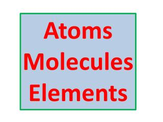 Atoms Molecules Elements