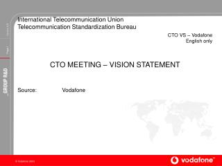 International Telecommunication Union Telecommunication Standardization Bureau