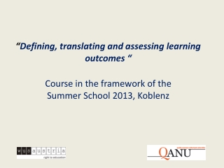 Writing and Using Learning Outcomes a Practical Guide