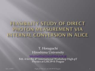 Feasibility Study of Direct Photon Measurement via Internal Conversion in ALICE