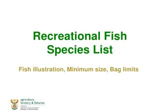 Recreational Fish Species List Fish illustration, Minimum size, Bag limits