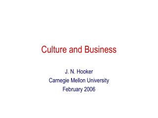 Culture and Business