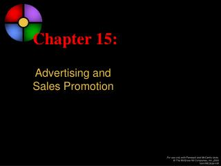 Chapter 15: Advertising and Sales Promotion