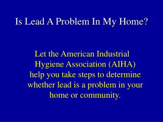Is Lead A Problem In My Home?