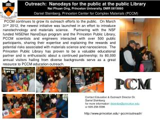 Outreach:   Nanodays  for the public at the public Library