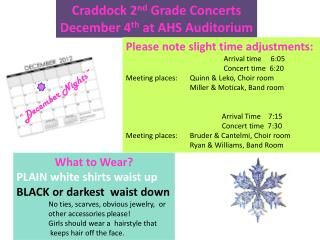 Craddock 2 nd  Grade Concerts December 4 th  at AHS Auditorium