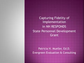 Capturing Fidelity of  Implementation in NH RESPONDS State Personnel Development Grant