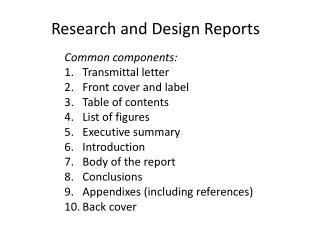 Research and  Design Reports