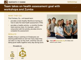 Team takes on health assessment goal with  workshops and Zumba