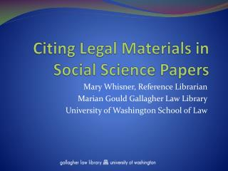 Citing Legal Materials in Social Science Papers