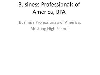 Business Professionals of America, BPA