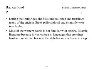 Background			 Islamic Literature Cornell  P								1