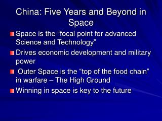 China: Five Years and Beyond in Space