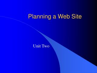 Planning a Web Site
