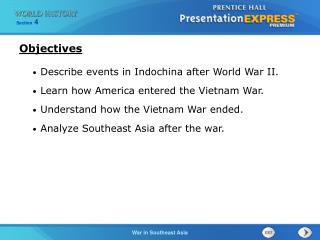 Describe events in Indochina after World War II. Learn how America entered the Vietnam War.